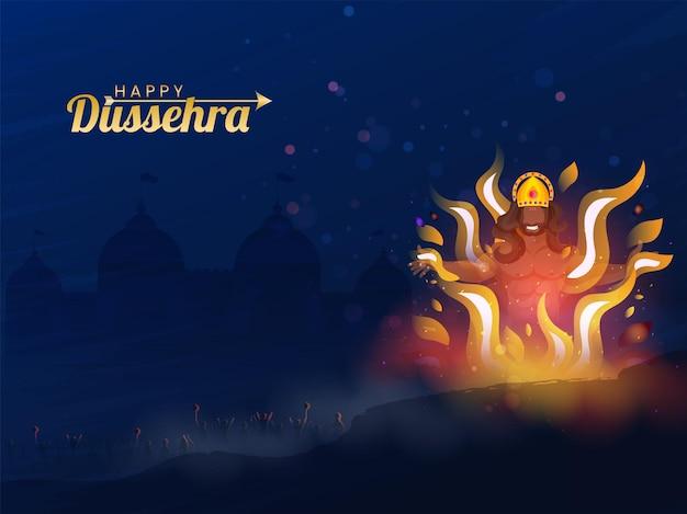 Goldener glücklicher dussehra-text mit brennendem dämon ravana und lord rama-armee auf blauem lanka-ansichtshintergrund.
