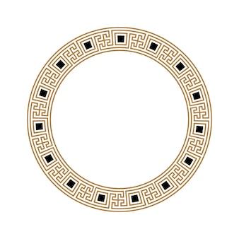 Goldener griechischer schlüssel runder rahmen typisch ägyptische assyrische und griechische motive kreisgrenze