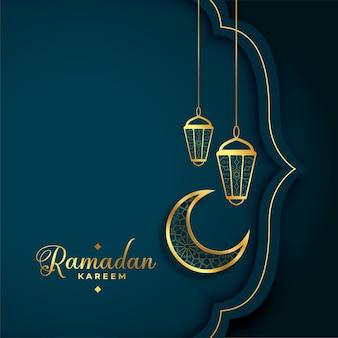 Goldener gruß des kulturellen ramadan kareem im islamischen stil