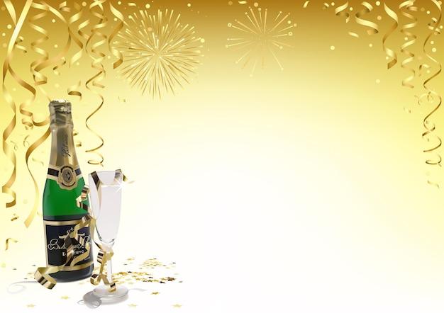 Goldener guten rutsch ins neue jahr-hintergrund mit champagner und goldenem konfetti