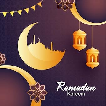 Goldener halbmond, moschee, hängende laternen und blumenmuster für islamischen heiligen monat der gebete, ramadan kareem hintergrund.
