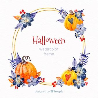 Goldener halloween-rahmen mit aquarellelementen