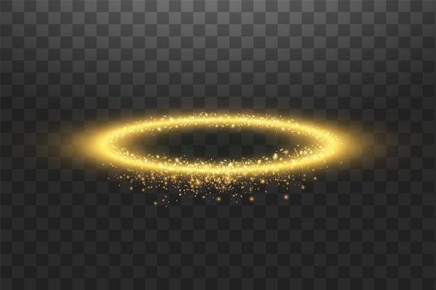 Goldener halo-engelsring.