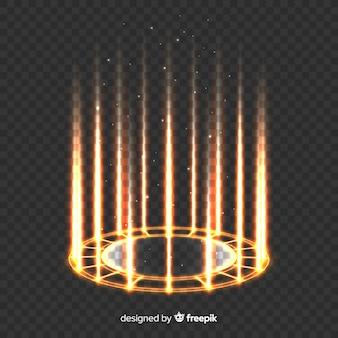 Goldener heller portaleffekt auf transparenten hintergrund