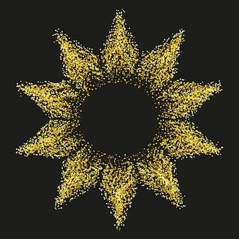 Goldener heller stern auf dunklem hintergrund glänzender rahmen