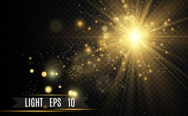 Goldener heller stern. lichteffekt heller stern. funkeln sie mit einem besonderen licht.