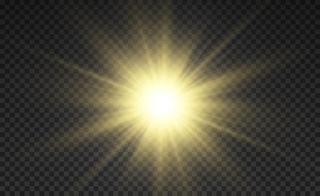 Goldener heller stern. lichteffekt heller stern. schönes licht zur veranschaulichung.