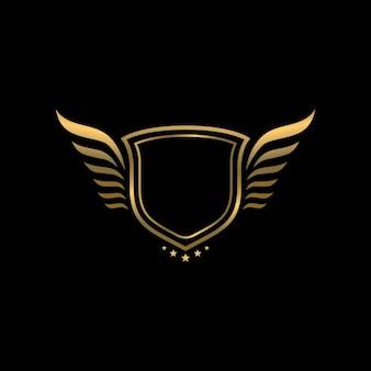 Goldener heraldischer vintage-schild mit flügel-logo-vorlage auf schwarzem hintergrund
