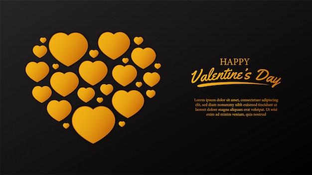 Goldener herd des glücklichen valentinstags