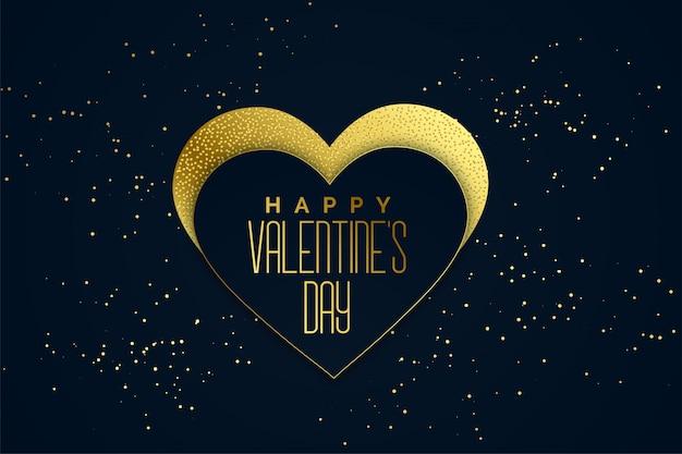 Goldener herzhintergrund des glücklichen valentinsgrußtages
