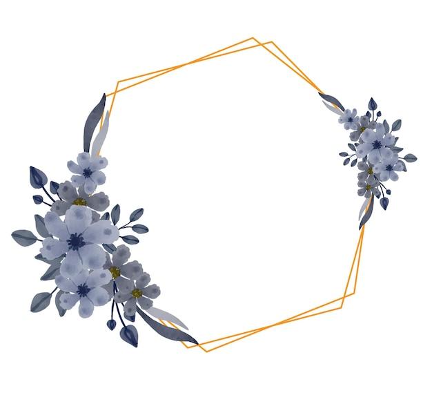 Goldener hexagonrahmen mit grauem aquarellblumen