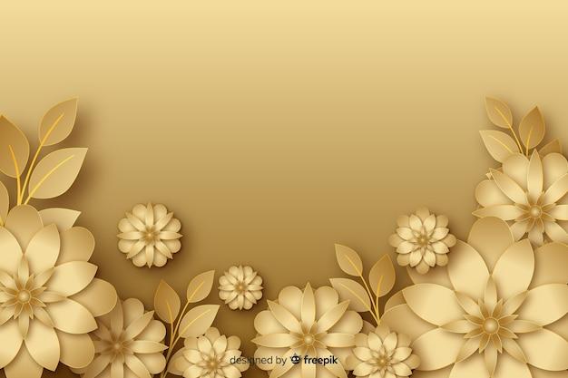 Goldener hintergrund der blumen 3d