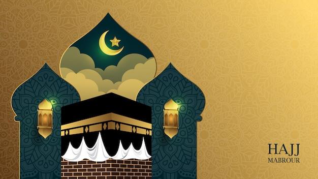 Goldener hintergrund der islamischen pilgerfahrt mit kaaba und verzierung - hadsch mabrour