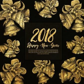 Goldener hintergrund des guten rutsch ins neue jahr-2018 mit ausbrüten-art