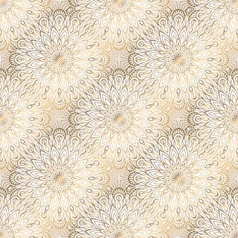 Goldener hintergrund des nahtlosen musters der mandala