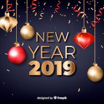 Goldener hintergrund des neuen jahres 2019