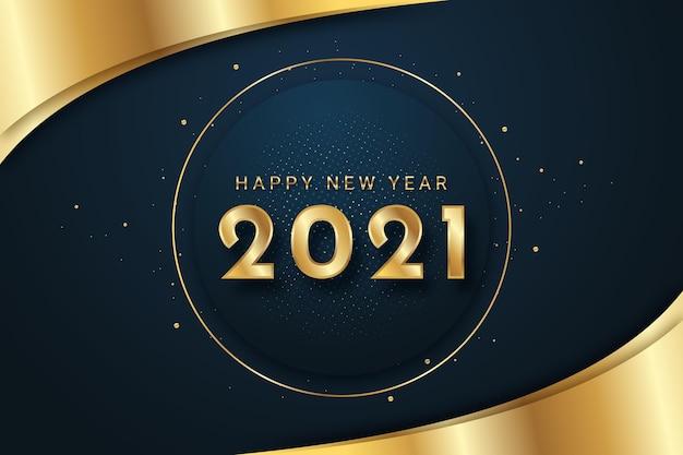 Goldener hintergrund des neuen jahres 2021