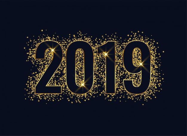 Goldener hintergrund des neuen jahres des glänzenden funkels 2019