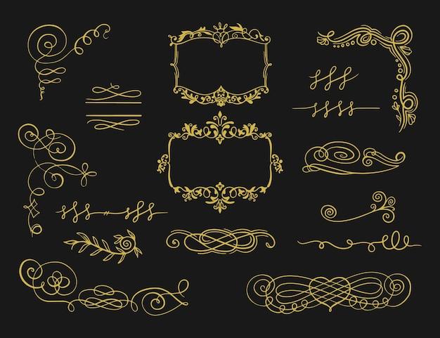 Goldener kalligraphischer verzierungssatz