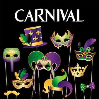 Goldener karneval masken hintergrund