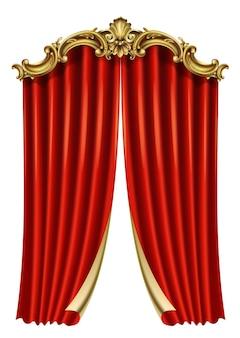 Goldener klassischer roter rokoko-barockvorhang. luxusrahmen zum malen oder postkartenumschlag