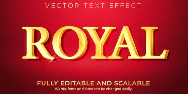 Goldener königlicher texteffekt, bearbeitbarer glänzender und reicher textstil Premium Vektoren