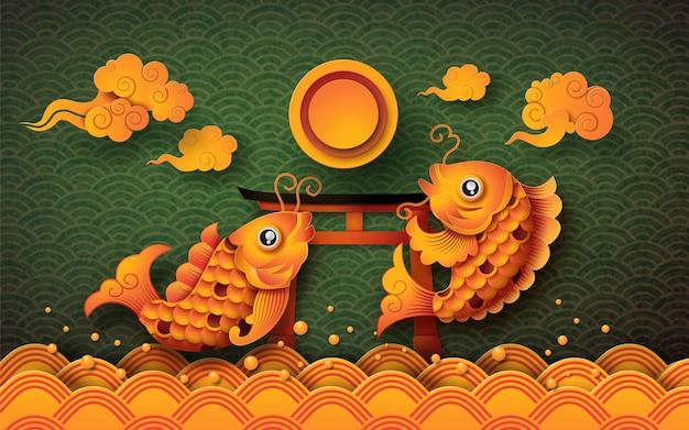 Goldener koi-fisch mit vollmond: mid autumn festival (chuseok)