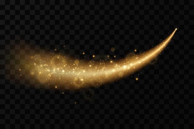 Goldener komet mit glänzenden glitzerpartikeln lichteffekt