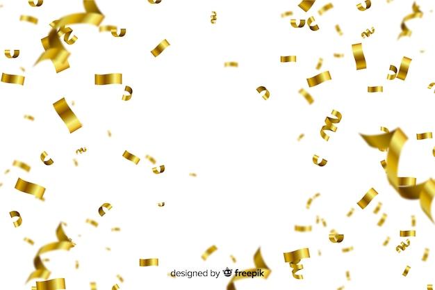 Goldener konfetti auf weißem hintergrund