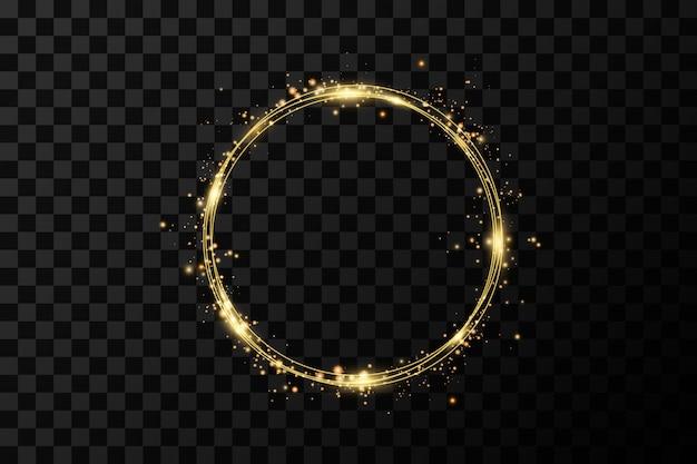 Goldener kreis klingelt. dekorationsdesignelement der goldfolienvergoldungstextur. funkelnder wirbel
