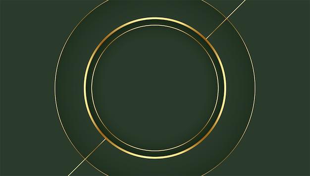 Goldener kreisrahmen auf grünem hintergrund