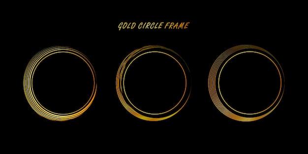 Goldener kreisrahmen, handgezeichneter goldener kreis