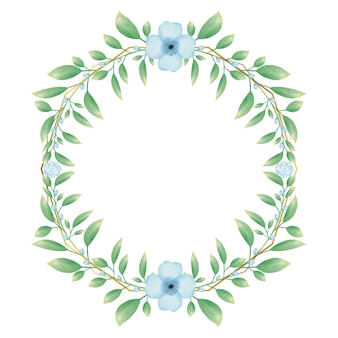 Goldener kreisrahmen mit blauem aquarellblumenblumenkranz