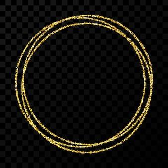 Goldener kreisrahmen. moderner glänzender rahmen mit lichteffekten einzeln auf dunklem transparentem hintergrund. vektor-illustration.