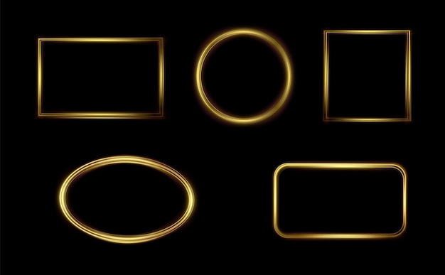 Goldener leuchtrahmen festliche vorlage für text goldener rand für festliche texte set lichtrahmen png