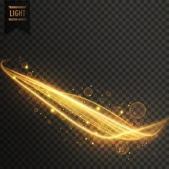 Goldener lichtstreifen mit funkelt transparentem effekt