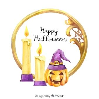 Goldener linearer aquarellrahmen mit halloween-konzept
