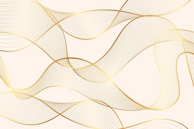 Goldener linearer hintergrund mit farbverlauf mit abstrakten transparenten wellen
