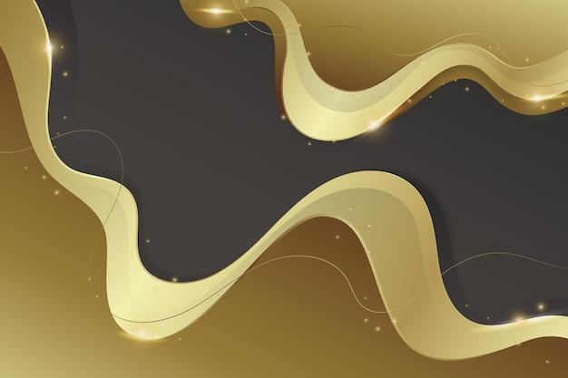 Goldener linearer hintergrund mit farbverlauf mit abstrakten wellen