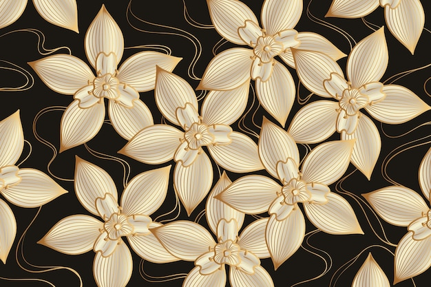 Goldener linearer hintergrund mit farbverlauf mit eleganten blumen