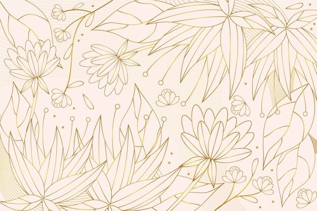 Goldener linearer hintergrund mit farbverlauf mit verschiedenen pflanzen