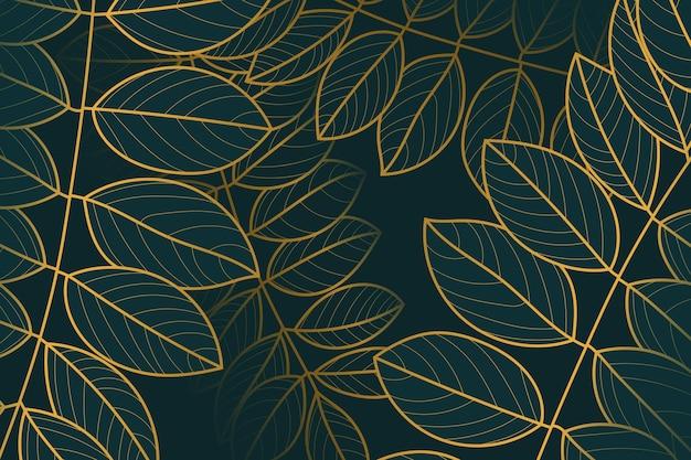 Goldener linearer hintergrund mit farbverlauf mit zweigen