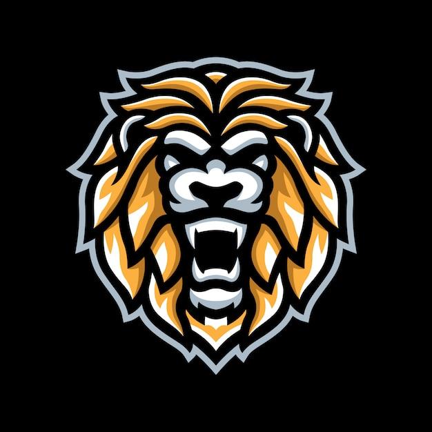 Goldener löwe maskottchen logo