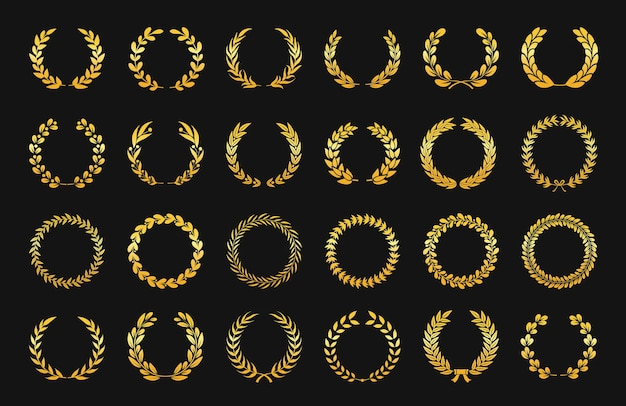 Goldener lorbeerkranz antiker olivenzweig embleme blatt ornament sieg logos