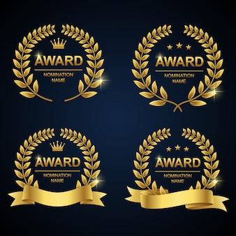 Goldener lorbeerkranz award set