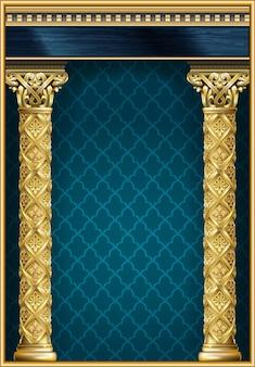 Goldener luxus klassischer bogen mit säulen. das portal im barockstil.