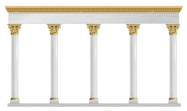 Goldener luxus klassischer bogen mit säulen.
