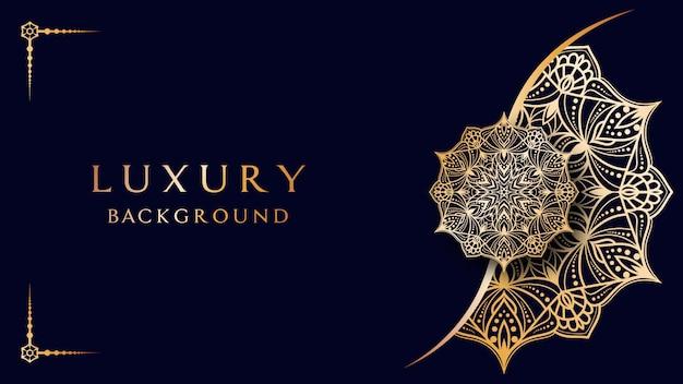 Goldener luxus-mandala-hintergrund im arabischen stil