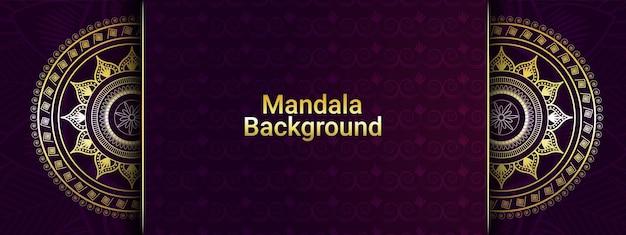 Goldener luxus-mandala-hintergrund und fahne