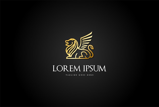 Goldener luxus royal lion king line logo design vector